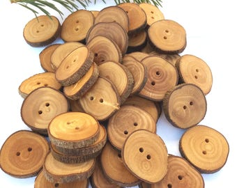 1 1/4'' Branch Buttons, Set of 50, Olive tree buttons, Handmade Wood buttons, Eco/ Natural buttons, Sewing supplies, 3 cm, 5% DISCOUNT