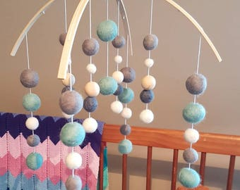"Felt Ball Mobile-""Mint, Grey & White""- ready to post"