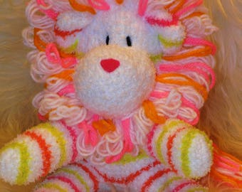 lion, white, pink, chartreuse Stuffed Animal Hand Stitched Sock Critter stuffy cuddly toy fuzzy easter lovies leo