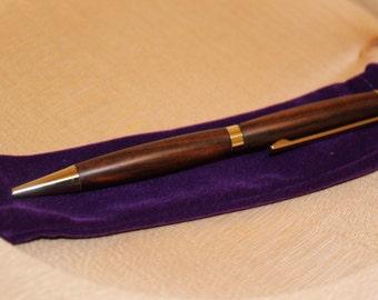 SALE PRICE *** Handmade 2 Tone Ebony Wooden Pen/Brass Fittings/Black Ink/Twsit Operation/Velvet Bag