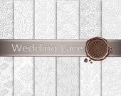 Wedding Lace digital paper / Lace in Digital Paper for scrapbooking / Gray Damask / Instant Download