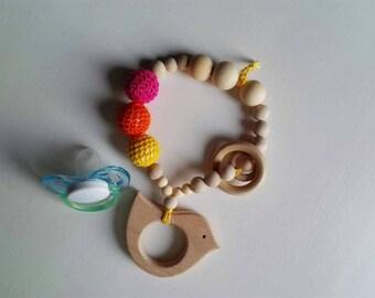 Necklace-feeding, teething, Teething game toy, kids wooden