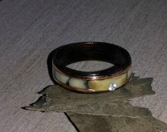 Wood Ring Caribou Antler and Eucalyptus bent wood ring, Natural Jewelry, Custom Ring