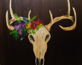 """26"""" x 26"""" Rustic Deer Skull and Floral Painting on Reclaimed Tin"""