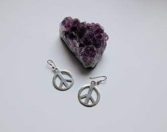 vintage sterling silver peace sign earrings
