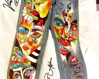 Handpainted Abstract Faces Jeans  Recycled - Colourful Faces/Handmade Jeans/Custommade Long Denim/One of a kind Jeans/Trendy jeans!