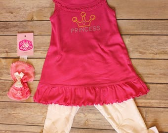 Pink Infant/Toddler/girls Tunic and Leggings Set With Headband