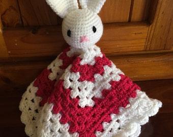 Crochet bunny security blanket/lovey, comforter, rabbit comforter,crochet bunny blankie, baby blankie