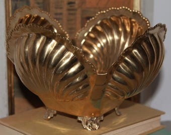 Vintage Brass Footed Clam Shell Planter/Cache Pot, Hollywood Regency
