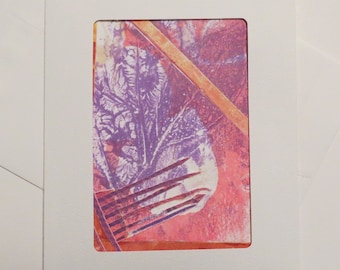 Greeting Card: #A8, made with an original monotype collage by Andi Warner