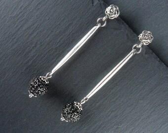 Earrings, earrings, studs, earrings, bar earrings, rhinestone, rhinestone ball and STO4