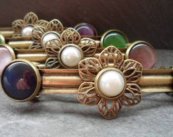 ornate Barrette, vintage style, hair jewelry, wedding, Festival, communion, Cabochon, bronze, 6