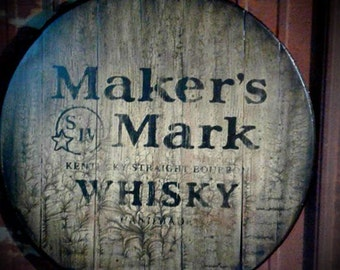 Maker's Mark hand painted bourbon whiskey barrel top sign