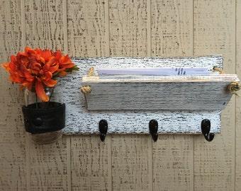 Mail Organizer with Key Hooks and Jar