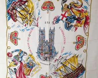 Coronation 1953 - God Save the Queen - Vintage Scarf