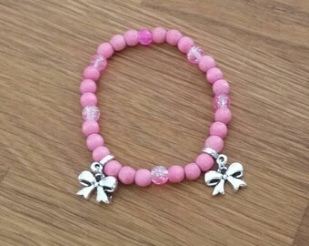 Bracelet with bows-pink