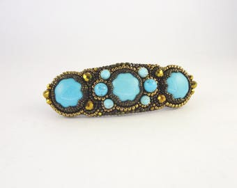 Bead Embroidery Hair Barrette with Glass cabochons