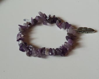 Amethyst bracelet with feather charm