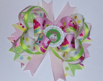 Cupcake Hair Bow, Sweets Hair Bow, Pink and Lime Bows, Boutique Hair Bows, Girls Hair Bows, Hair Bows, Birthday Hair Bow
