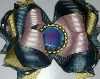 Denim Hair Bow, Blue Jean Hair Bow, Denim and Pink Hair Bow, Boutique Denim Hair Bow, Denim Layered Hair Bow, Girls Hair Bows
