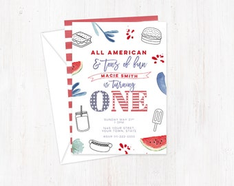 1st birthday invitations, labor day birthday, independence day, All American invites, tons of fun invites, cookout birthday, printed invites
