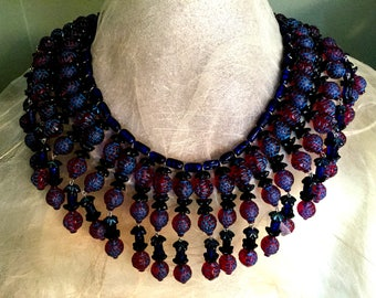 Showstopper Cleopatra Style Raspberry and Cobalt Necklace