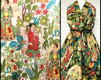 Frida Kahlo fabric - Frida's Garden fabric - clothing cotton - Alexander Henry fabric - Frida Kahlo cotton - jungle print cotton