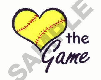 Love The Game Softball - Machine Embroidery Design