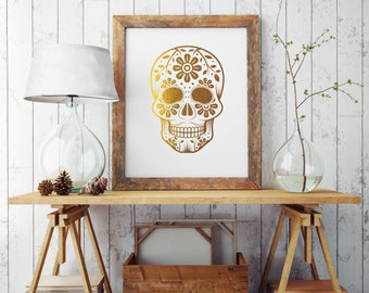 Day of the Dead Gold Foil Print, Real Gold Foil Sugar Skull on 65lb cardstock, Cinco de Mayo Celebration, Mexican Wall Decor Skull