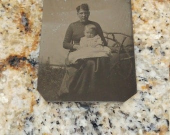 Man or Woman?  Antique Tintype Photograph of Very Masculine Woman with Child and Twig Furniture