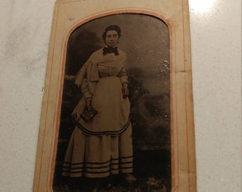 Book 'Em Danno:  Antique Tintype Photograph of Woman With a Book