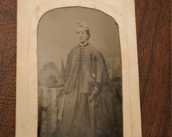 Baby on Board?  Antique Tintype Photograph of Woman Who Appears to be Pregnant