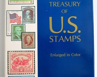 Stamp Book, Stamp Collectors, Pictorial Treasury of U.S. Stamps, Collectors Institute of Reference Library, Stamps 1847 to 1974, c1974 -V119