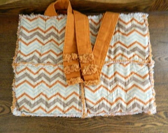Rag Quilt Tote Bag - Handmade Cotton Chevron Rag Quilt Tote Bag - Ready To Ship