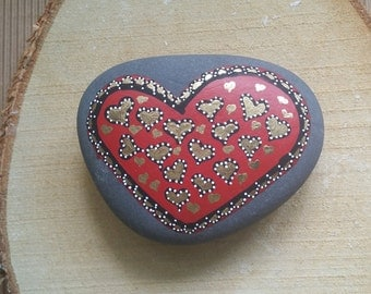 Beautiful Hand Painted Heart Stone