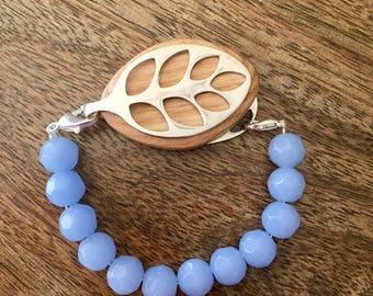Bellabeat Leaf Bracelet - Opaque Aqua Faceted Glass
