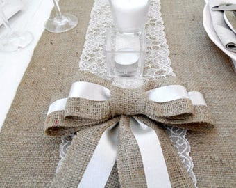 Burlap Lace Runner 14'' - Wedding runner Burlap - choose your length