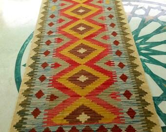 Article # 5300 13.1 Feet Long VEGETABLE DYED Hand Made Chobi Kilim Runner Rug Double Face Design 400 x 78 cm - 13.1 x 2.55 Feet