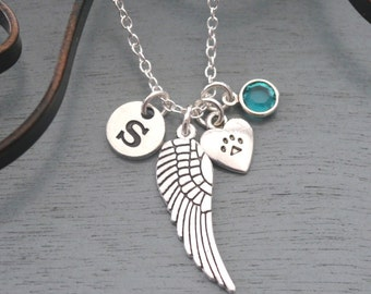 Pet Memorial Necklace, Personalized Angel Wing Paw Heart Necklace, Pet Memorial Gifts, Paw Angel Wing Necklace, Cat Dog Memorial, Custom