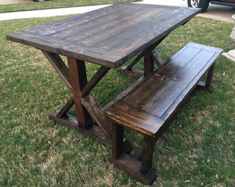 Rustic Carrington Farmhouse Dining Table and Bench Seat
