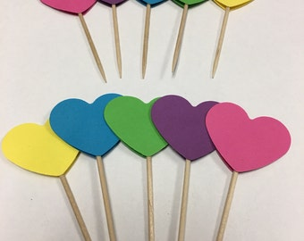 Heart shaped 1.5 inch cupcake toppers