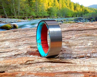 Fine Tungsten Wood Ring, Wood Wedding Band, Tungsten Ring, Meticulously Custom Made From Wild Cherry and Turquoise - Waterproof!