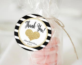 Kate Spade Inspired Favor Tag | Kate Spade Bridal Shower | Kate Spade Baby Shower | Black And Gold Favor | Wedding Favor Tag