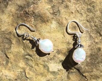 Little White Coin Pearl Earrings