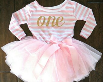Look who's One outfit, First Birthday Dress, Pretty Stripes First Birthday with Tulle Skirt