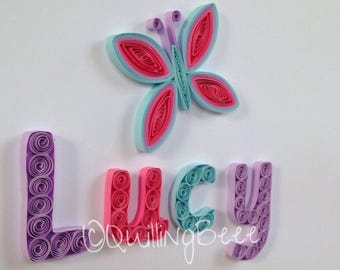 Quilled Butterfly Nursery Decoration, Child's Personalised Name Frame, Personalised Baby Gift, Child's Keepsake, Personalised Girls Gift