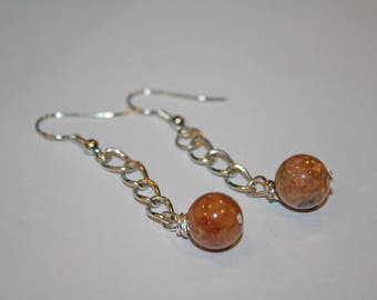 Earth Tone marble/glass earrings