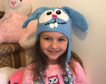 Smeshariki Crosh , blue bunny from cartoons , bunny hat , knitted bunny hat .