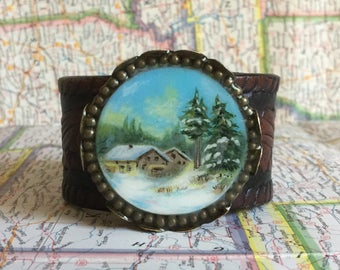 Hand Painted Handmade Leather Cuff Bracelet Jewelry