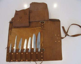 Handmade Pure Copper Rivets Leather Knife Bag